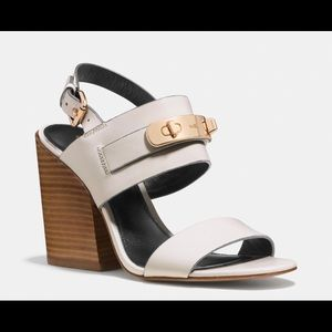 Leather COACH Sandals with gold detailing!